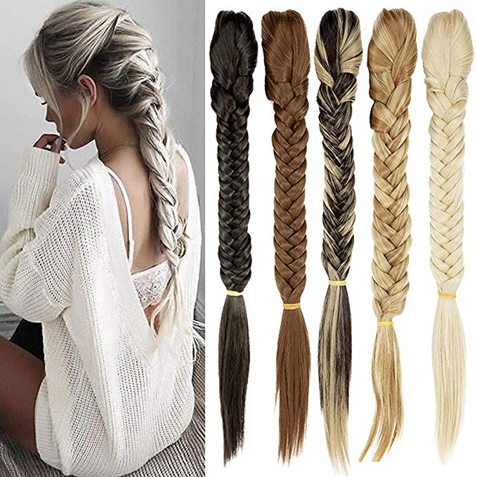 Braided pony tail clip in hair extensions