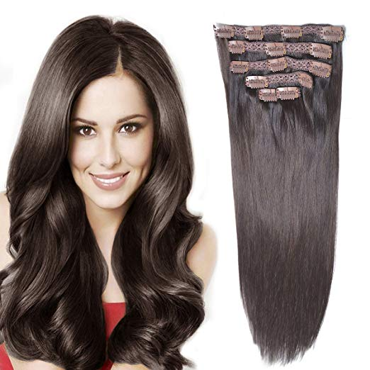 Dark Brown Clip In Hair Extensions 14 inch