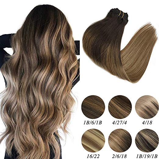 Ombre dark brown clip in hair extensions