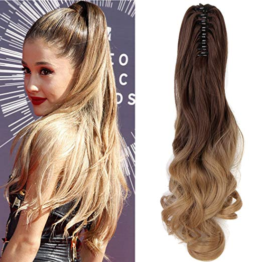 Pony tail clip in Hair Extensions two tone color