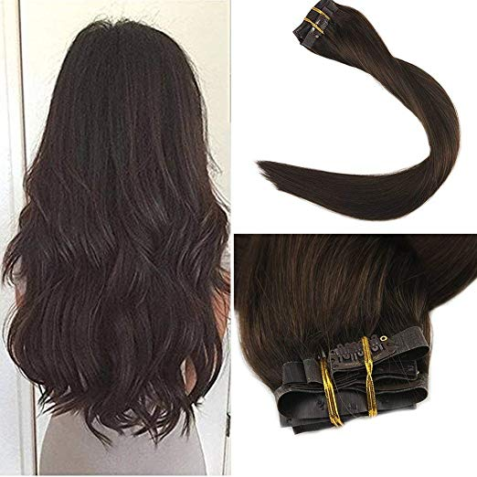 Silky Straight Clip In Dark Brown Hair Extensions