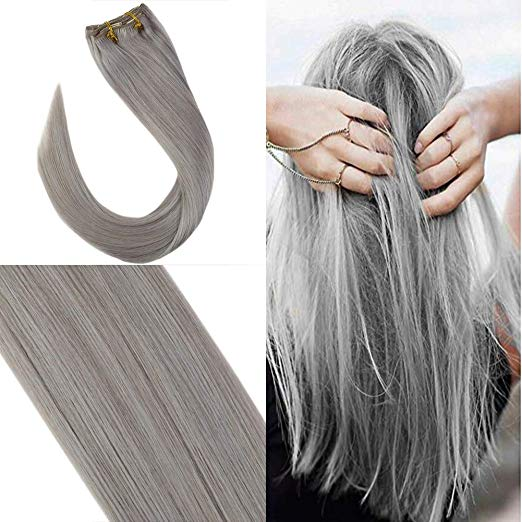 Unique Grey Clip In Hair Extensions