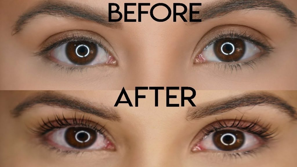 Eyelash tinting before and after